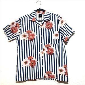 Coachella Striped Floral Button Front Short Sleeve